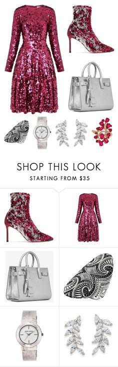"""""""Untitled #419"""" by shamim1382 ❤ liked on Polyvore featuring Jimmy Choo, L.K.Bennett, Yves Saint Laurent, Thomas Sabo, Anne Klein, Carolee and LE VIAN"""