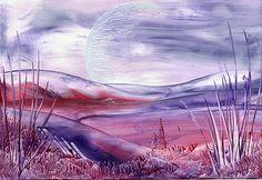 purple hills one of my encaustic art paintings