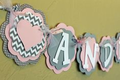 Heart Light Baby Pink Gray Chevron Stripe Polka by PaisleyGreer, $26.00