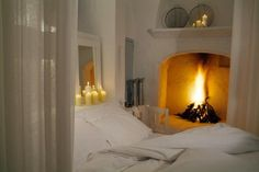 fireplace in the bedroom. Home sweet home. Cosy Bedroom, Dream Bedroom, Bedroom Decor, Master Bedroom, White Bedroom, Bedroom Candles, Bedroom Romantic, Cozy Room, Coziest Bedroom