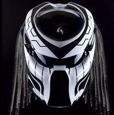 Custom Alien Predator Motorcycle Dot Approved Helmet black And White #Unbranded #Predator