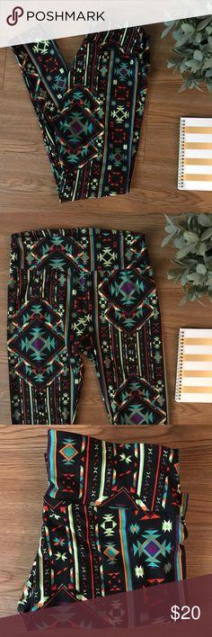Lularoe OS Leggings Black with Aztec Print design  One Size  Like new!  *smoke free and pet free home* LuLaRoe Pants Leggings