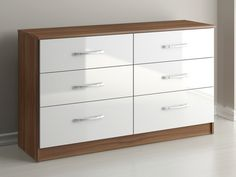 Birlea Assembled Lynx White and Walnut 6 Drawer Chest of Drawers