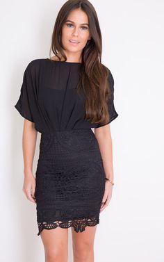 Libby Kimono Lace Mini Dress Black - SilkFred