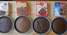All four baked cakes side by side boxed cake comparison Sydney Kim