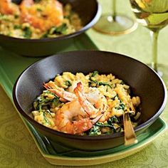 Serve this Pan-Seared Shrimp and Arugula Risotto dish with steamed or roasted asparagus for the ultimate meal.