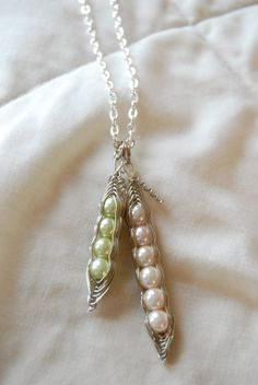 Customizable Wire Wrapped Pea Pod Necklace for by PrairieDustInc, $28.00