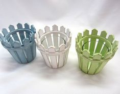 Picket Fence Candle Votive in 3 Colors van beachgrasscottage: Popsicle Stick Crafts, Popsicle Sticks, Craft Stick Crafts, Wood Crafts, Diy Home Crafts, Crafts For Kids, Picket Fence Decor, Pop Stick, Barbie Furniture