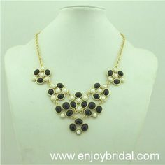 Black- White Necklace, Handmade Bib Necklace/Statement Bubble Necklace,Bridesmaid Gifts,Beaded Jewelry$16.00