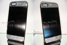 Swarovski crystal BLACK Brushed Aluminium Hard by blingstuffshop, $23.00