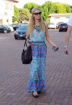 Nicky Hilton Spotted in TOLANI! She's wearing the New TOLANI Resort 2013 piece the Norah Maxi Dress in Waterdrops!   TOLANICOLLECTION.COM