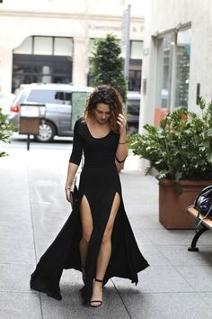 double thigh slit maxi