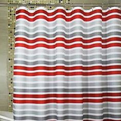 """Shower Curtain Red & Gray Stripes Print Thick Fabric Water-resistant W71"""" x L78"""" – USD $ 34.99"""
