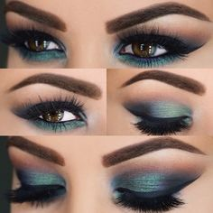 "AmrezyPalette ""Caramel"" on the crease, ""Emerald"" and ""LBD"" on the lid, ""Legend"" on the tear duct."