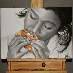 'Hmmm... Delicious' 70 X 50 cm, Pencil & Oil on Canvas By Veri Apriyatno 2014 Commission works of 2015 Calendar Project from Mawar Bakery, Medan #drawingpencil #veriapriyatno