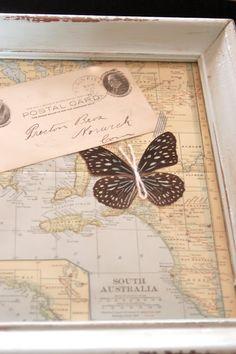 map, butterfly, letter, frame