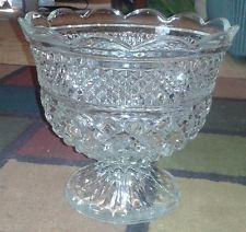Vintage Clear Depression Era Glass Hobnail? Pedestal Candy Dish