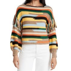 Alice + Olivia Claudette Fringe Sweater Fringe Sweater, Men Sweater, Edgy Look, Winter Looks, Long Tops, Winter Wardrobe, Skinny Pants, Alice Olivia, Boho Chic