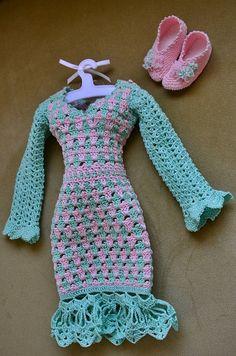 Crocheted dress and slippers for MSD SoulDoll BJD Soul-Kids, 1/4 BJD or similar…