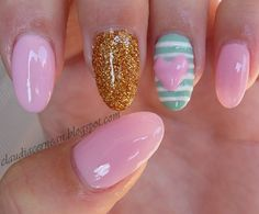 little pink heart nails 20 Valentines Day Nail Art Ideas