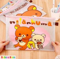 $22.80 for 10. Busy bag pouch idea. Free Shipping/NEW cute PVC cartoon bear style Pencil bag IV / A4 grid file bag / pouch / Wholesale-in Pencil Bags from Office & School Supplies on Aliexpress.com