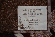 Label for wedding gift quilt