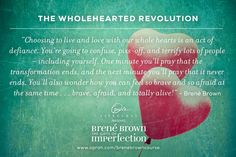 Choosing to live with our whole hearts is an act of defiance. This card is helping to inspire me on my journey to wholeheartedness with Brene Brown. Berne Brown, Brene Brown Zitate, The Gift Of Imperfection, Rising Strong, Brene Brown Quotes, Daring Greatly, How To Stay Awake, Along The Way, Vulnerability