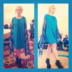 Beautiful blue long sleeved dress by Scarlett Stewart fashion