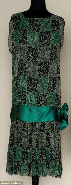 Early 1920s - Unknown. Silk, glass. Green and black print, some blocks covered with green beadwork.