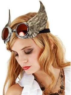 Steampunk Silver Winged Goggles