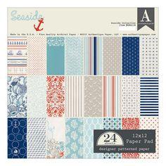 Authentique Paper Seaside 24-Sheet 12'' x 12'' Archival Paper Pad, Multicolor