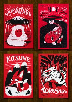 The newest poster series from Family Tree Design,Fauna Friends–Japanimals, features artwork by Alex Pearson, Julian Baker, Scott MacDonald and Andy Young in a2-color screen print on bright red paper.