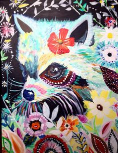 Flower Raccoon Painting Acrylic on Canvas inspired by by gypseaglo