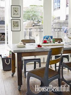 Antique school chairs for kids table.  kitchen.  dining room.  home decor and interior decorating ideas.