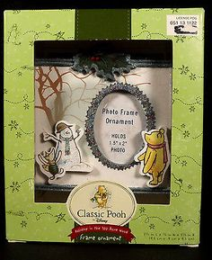 Disney Classic Pooh Christmas Tree Frame Ornament Piglet Snowman Glitter