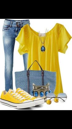 LOLO Moda: Stylish women outfit sets 2013 find more women fashion on… Mode Outfits, Casual Outfits, Summer Outfits, Fashion Outfits, Womens Fashion, Fashion Trends, Yellow Outfits, Dress Outfits, Fashion Hacks