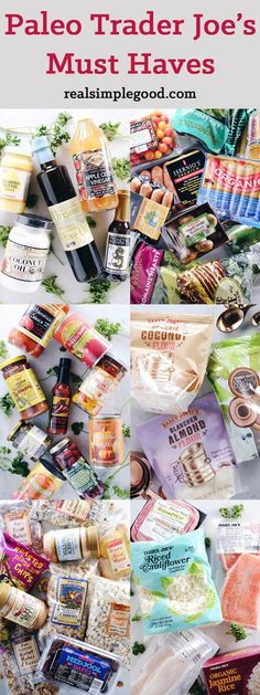 Here is a go-to list of Paleo Trader Joe's must haves! These are all clean Paleo products that you can find at your local TJ's. We've got organic veggies, clean meats (sausage, chicken, ground beef), frozen foods, oils, vinegars, pantry staples, snacks and baking items. It's all Paleo and Gluten-Free!   realsimplegood.com