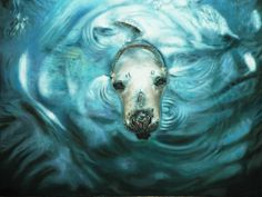 New painting. Oil on wooden panel of a Seal. By Sarah McBride