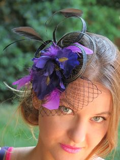I would totally rock this... Fascinator wedding hat BLACK IRIS by FascinatorsFirst on Etsy, $34.00