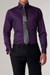 Dark purple shirt with slate grey tie