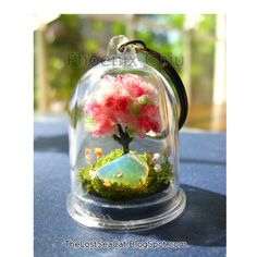 Birthstone Key chain Cherry blossom Tree of Life Terrarium