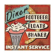 Great Big Canvas 'Diners and Drive Ins III Vintage Advertisement Format: White Frame, Size: H x W x D Vintage Diner, Retro Diner, Vintage Ads, Vintage Picnic, Retro Ads, Love One Another Quotes, Diner Sign, Diner Decor, Pause Café