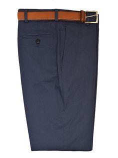 Michael Kors 19465 97% Cotton / 3% Spandex Boy's Pant - Cotton Poplin - Blue, Plain Front