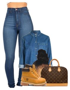 """""""""""They ask me if im my ballin' cuz' I'm really ballin'"""" """" by gawdesz ❤ liked on Polyvore featuring Topshop, Louis Vuitton and Timberland"""