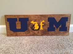 Rustic U of M University of Michigan State by HomemadeinMichigan