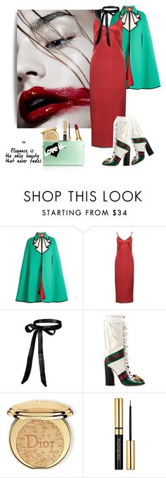 """Curvy hips and red lips 👄"" by curlysuebabydoll ❤ liked on Polyvore featuring Gucci, Natasha Zinko, Christian Dior and Eshvi"