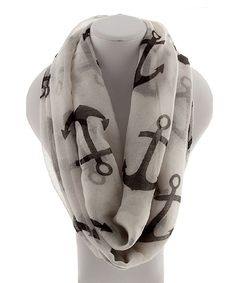 White and Black Anchor Infinity Scarf