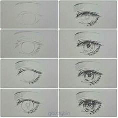 ideas drawing anime tutorial for 2019 – Drawing Techniques Pencil Drawing Tutorials, Sketches Tutorial, Eye Tutorial, Pencil Drawings, Eye Drawings, Drawing Hair Tutorial, Pencil Sketching, Realistic Eye Drawing, Manga Drawing