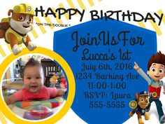 Featuring Rubble, Chase and Ryder. A personal photo option adds originality to the invitation. You will receive a photo quality JPEG and a PDF file. Paw Patrol Birthday Invitations, Double S, Paw Patrol Party, Photo Quality, Digital Invitations, Personal Photo, Birthday Parties, Pdf, Ebay