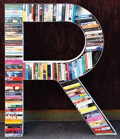 great idea for the home office in your initials #bookshelf